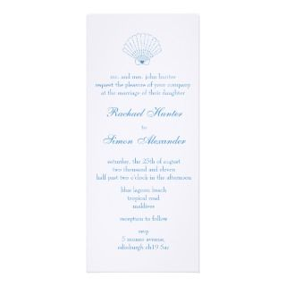 Shell Love Heart Beach Wedding Invitiation  slim Personalized Invite