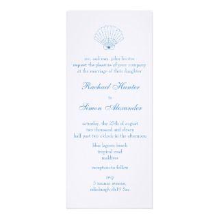 Shell Love Heart Beach Wedding Invitiation  slim Personalized Invite