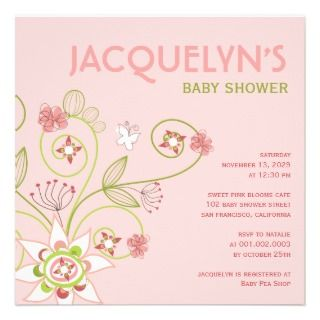 Whimsical Sweet Pink Blooms Baby Shower Invite
