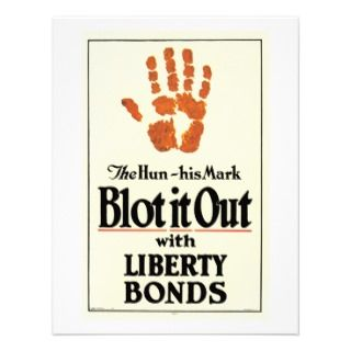 Liberty Bonds ~ The Hun His Mark Blot It Out WWI Personalized