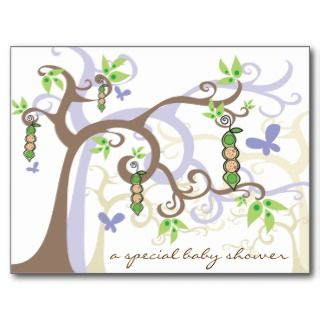 Magic Trees Twins Boy Girl Pea in Pod/ Baby Shower Post Card