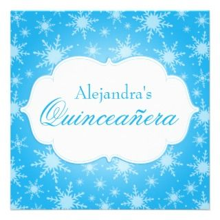 Snowflakes Quinceanera Birthday Custom Invitation