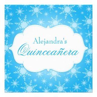 Snowflakes Quinceanera Birthday Custom Invitation