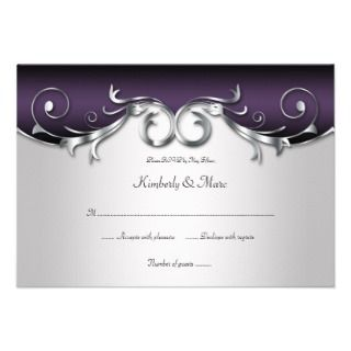 5x5 Elegant Purple Silver Black RSVP Custom Invitation