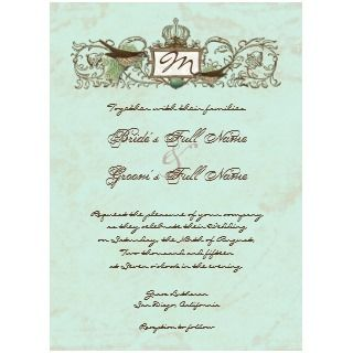 Vintage Birds Robins Egg Blue Wedding Invitation invitation