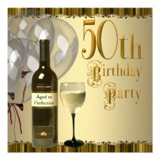 Glass Bottle Gold 50th Birthday Party invitations by InvitationCentral