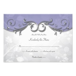 5x5 Elegant Purple Silver Leaves Overlay RSVP Announcements