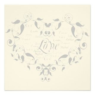 Love in Any Language in Silver Wedding Invitation