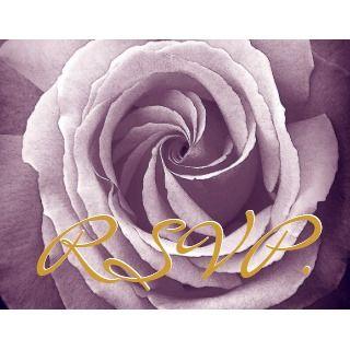 PURPLE SILVER BLACK Lace Rose Wedding Invitation