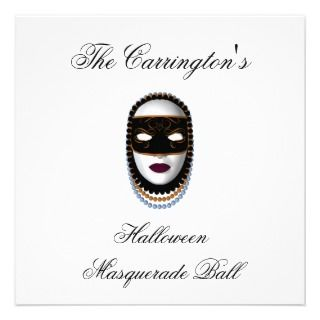 Halloween Masquerade Ball   Black/Gold Mask Custom Invite
