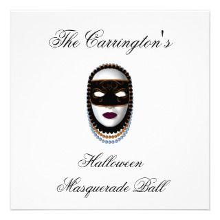 Halloween Masquerade Ball   Black/Gold Mask Custom Invite