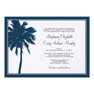 Navy Blue Palm Tree Wedding Invitation