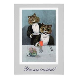 Louis Wains Cats in Tuxedo Dinner Invitation
