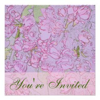 Mauve Double Lilac Color Pencils Square Invitation