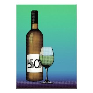 50th birthday : wine bottle & glass invites