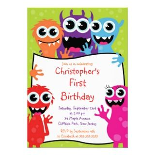 Cute Monster Birthday Party Invitations