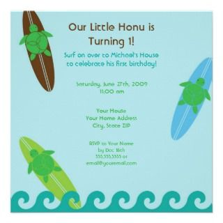 Happy Honu Loves Surf Birthday Invitation