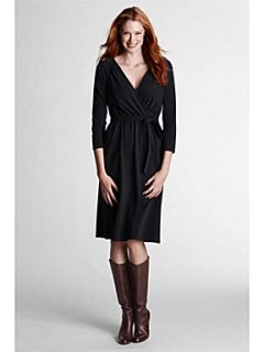 Lands End Women`s crepe jersey wrap dress Black