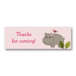 Girl Hippo Birthday baby Shower Favor Gift Tags Business Card Template