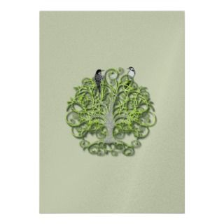 bird green swirl tree wedding invitation lime see a slightly different