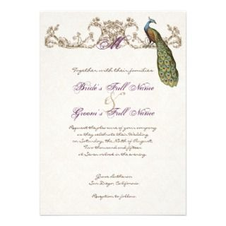 Vintage Peacock & Etching Wedding Invitation White