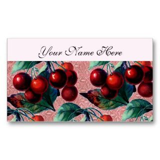 of Red Cherries Antique Fruit Design Business Cards