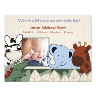 Zanzibar Jungle Crew Photo Baby Birth Card Announcements