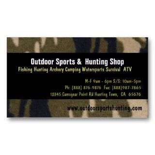 Print Sportsman Hunting Outdoor Supplies Shop Business Card Templates