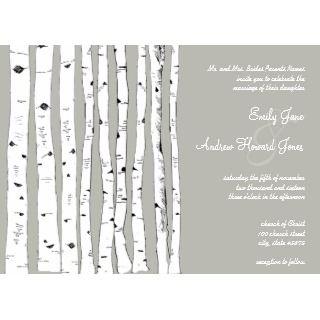 Silver Cloud Birch Tree Wedding Invitations invitation