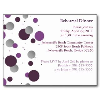 Purple & Silver Dot Rehearsal Dinner Postcard