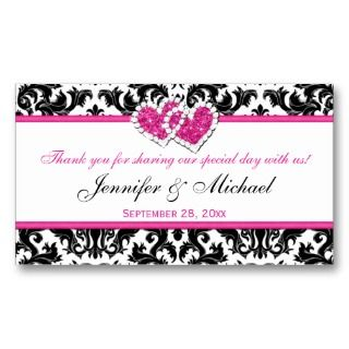 , Pink Joined Hearts Damask Favor Tag Business Card