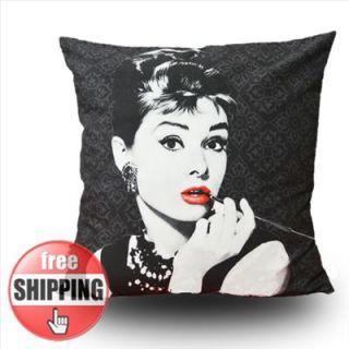 MODERN Printed Audrey Hepburn Picture POP ART PILLOW CASE CUSHION