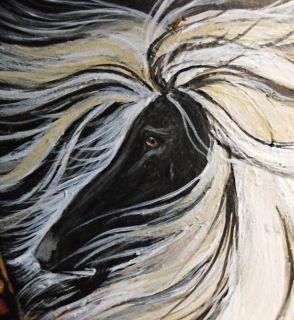Afghan Hound Original Painting Iridescent Art ACEO Susan Waddington