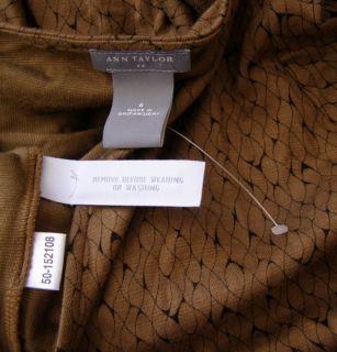 Ann Taylor Caramel Dark Brown Print Wrap Dress 6 New Stretch Knit Soft