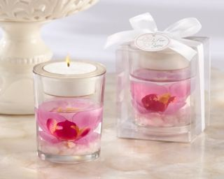 Elegant Purple Orchid Gel Tealight Candle Holder Bridal Shower Wedding