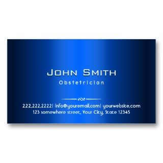 Royal Blue Metal Obstetrician Business Card