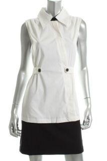 Karl Lagerfeld New White Collared Sleeveless Banded Hem Casual Dress