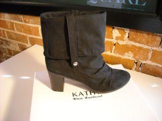 Kathy Van Zeeland Black Scrunchy Ankle Boots