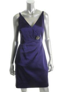 Kay Unger New Purple Embellished V Neck Faux Wrap Cocktail Dress 6