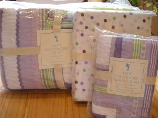 Pottery Barn Kids Katie Lavender Patchwork Twin Quilt Sham Sheet Set
