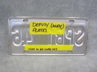 Eureka Deputy Andy Kavan Smith Screen Used License Plate Set