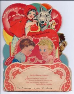 Vintage Die Cut Valentine Card Mechanical 3D Honeycomb Red Riding Hood