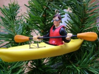 New Yellow Kayaking Paddle Kayak Life Jacket Ornament