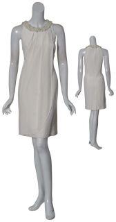 Kay Unger Pearl Beaded Rhinestone Evening Dress 8 New