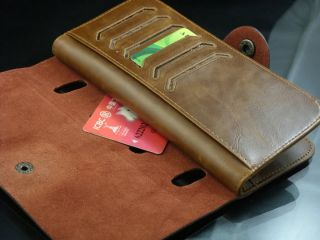 Leather Brown New Mens Womens Long Bifold Wallet Clutch Purse Fashion