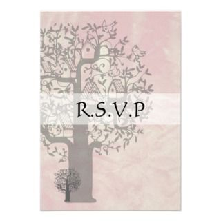Save the Date Pink and Grey Tree and Bird House Custom Announcements
