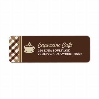 Retro Checkered Coffee Bar Return Address Labels