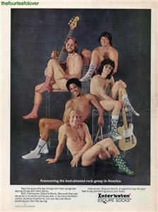 Kayser Roth Interwoven Esquire Socks Rock Group Print Ad 1972 RARE