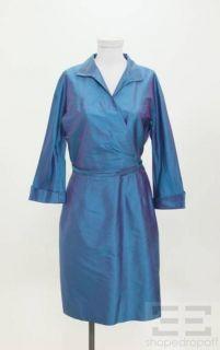 Kay Unger Blue Purple Iridescent Silk Wrap Dress Size 12 New