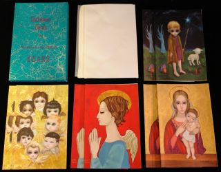 Christmas Cards by Margaret and Walter Keane. Four pairs of 2. Each
